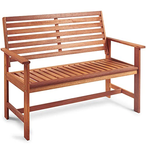 VonHaus Garden Bench - Classic 2 Seater Wooden Patio Outdoor Furniture - Seating with Teak Oil Treated Meranti Hardwood (120cm)