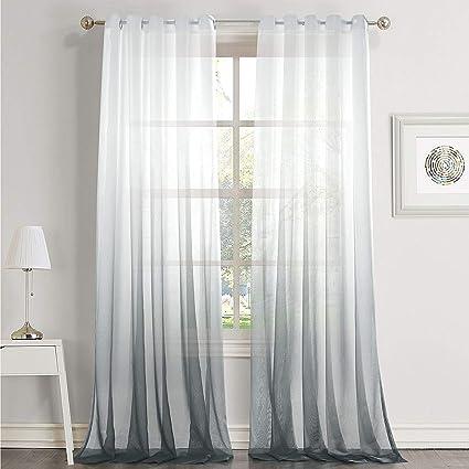 dreaming casa rideaux voilages blanc gris noel ombre degrade de couleur gris a oeillet transparent decor de fenetre voilage salle de bain balcon