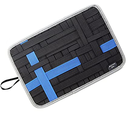 df1e8388bd7f Admirable Idea Anti-slip Electronic Accessories Elastic Organizer Board  with Tablet Pocket,Travel Gear Organize Case for Cables - Black Size L