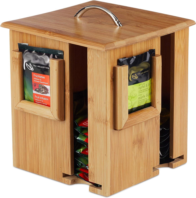 Contenitore Girevole Coperchio Rimovibile 4 Scomparti 160 Bustine Relaxdays Tea Box Legno Naturale 20,5x18x18 cm