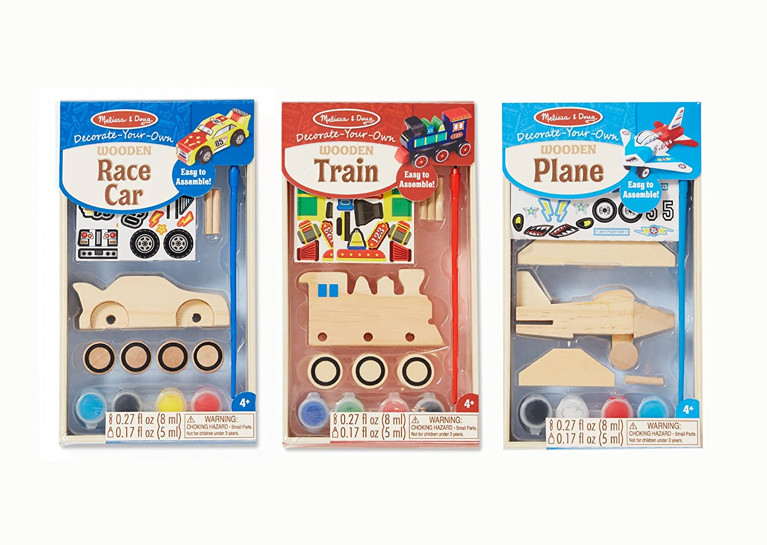amazoncom melissa doug decorate your own wooden craft kits set plane train and race car toys games