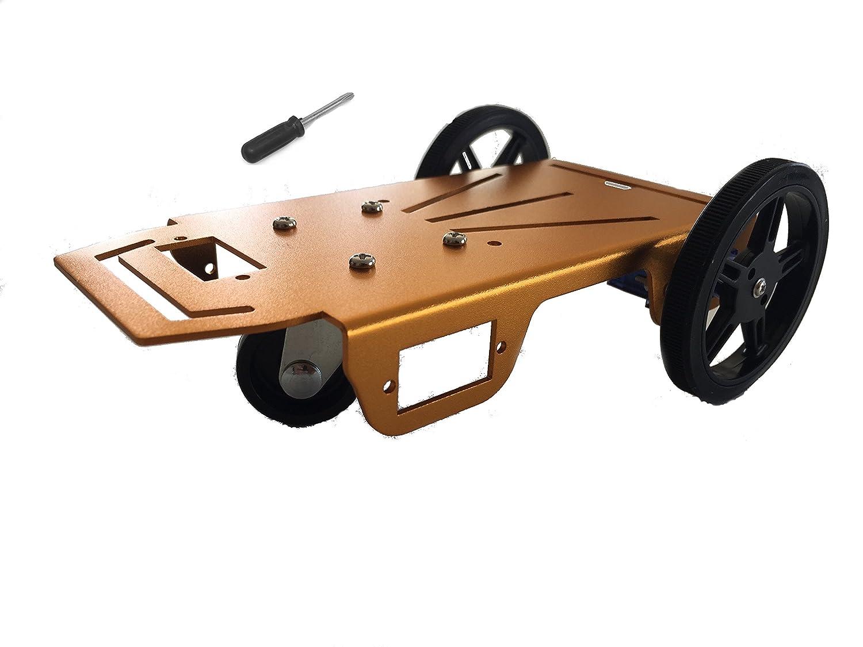 Feetech FT-MC-005 Giallo alluminio Robot veicolo telaio con FS90R continua servi di rotazione per Arduino Servo Biblioteca