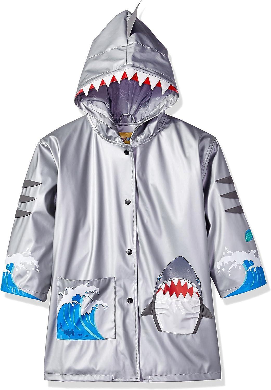 Kidorable Shark Grey PU All-Weather Raincoat for Boys w/Fun Shark Mouth Pocket, Hood Fin, Teeth