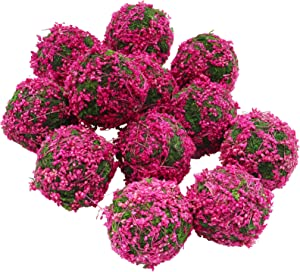 Moss Ball Preserved Natural Green Decorative Colorful Moss Ball Hanging Balls Table Decor Bowl Vase Filler Farmhouse Style Decor (Pink 2.4 inch 12pcs)