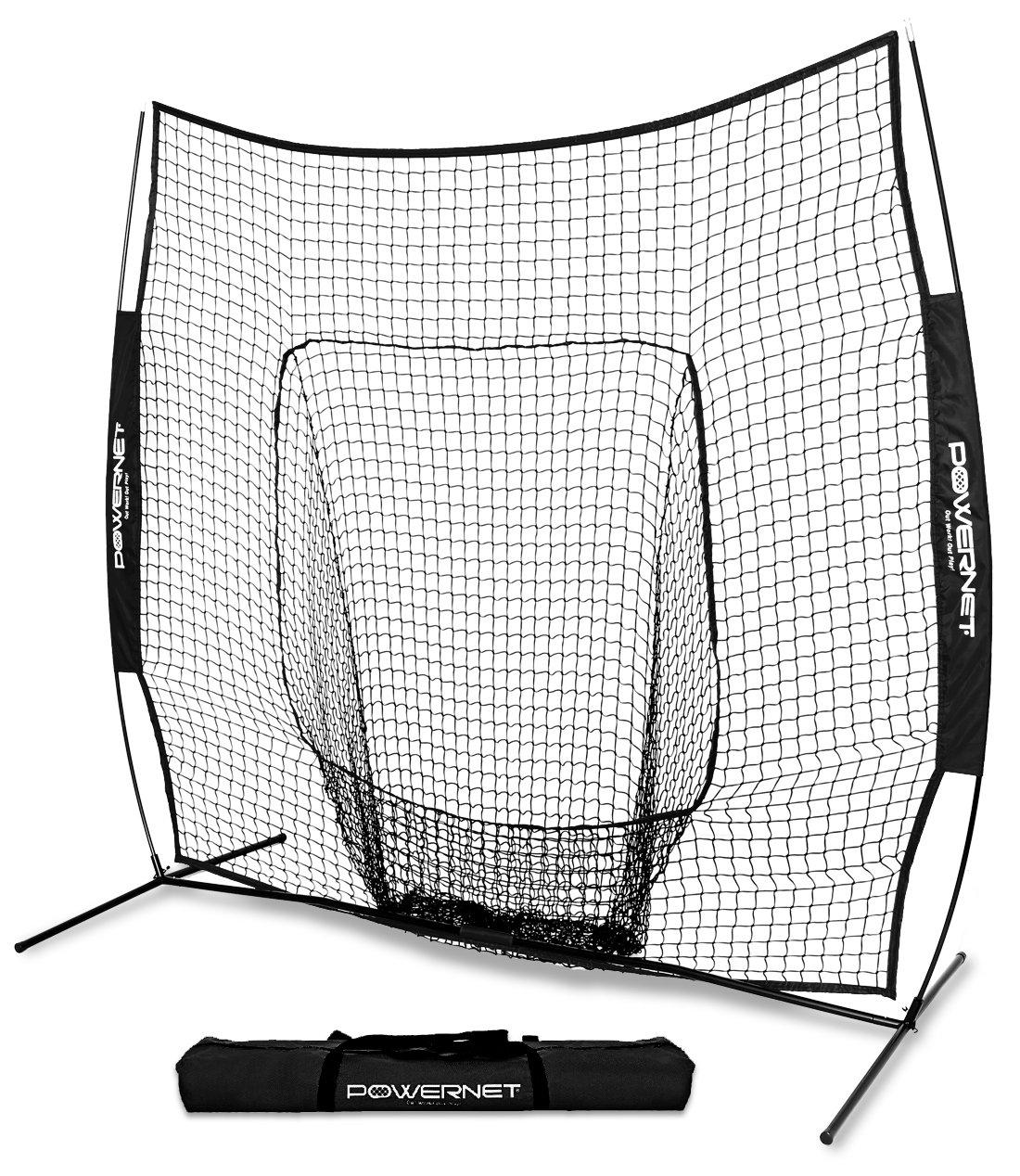 PowerNet Team Color Baseball Softball 7x7 Hitting Net w/Bow Frame (Black) by PowerNet