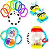 Baby's First Rattles Developmental Giftset for Newborns + | Includes Wrist Rattles, Hourglass Rattle, 9 pc Ring O' Links…