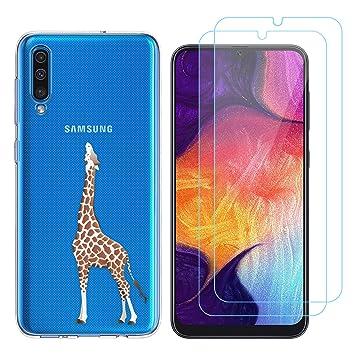 Funda Samsung Galaxy A50 Jirafa Suave TPU Silicona Protector Trasero Carcasa para Samsung Galaxy A50 (6,4 Pulgada) con Dos Protector de Cristal ...