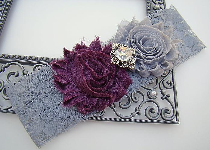 f28f66e53c9 Amazon.com  SEXY Dark Purple   Grey Shabby Flower Vintage Bling ...