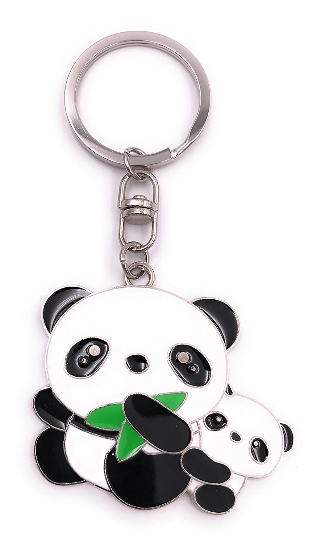 H-Customs Oso panda con bebé llavero colgante plata metal ...