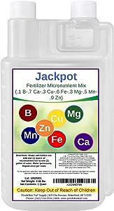 Jackpot Liquid Fertilizer Micronutrient Mix (.1 B-.7 Ca-.3 Cu-.6 Fe-.3 Mg-.5 Mn-.9 Zn) | Indoor & Outdoor | for Plants, Flowers, Vegetable Gardens, Trees, Shrubs & Lawns (32oz)