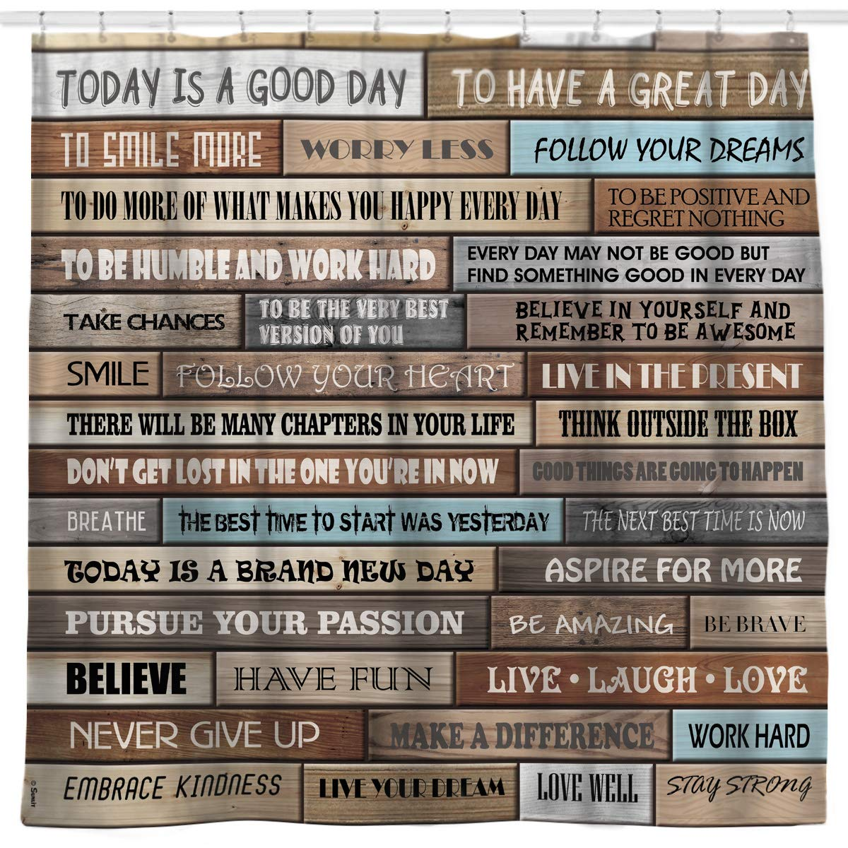 Sunlit Inspirational Motivational Happiness Quotes for Courage Be Awesome Poster Print Rustic Cabin Shower Curtain Teak Closet Curtain Home Bathroom Decor Fabric Quote Tapestry by Sunlit