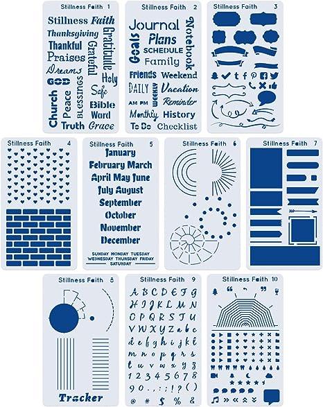 f/ür Journaling Bastelprojekte Scrapbooking 6 St/ück Edelstahl Bullet Journal Schablonen-Set Zeichnungsvorlagen Lineal