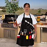 EZ Drinker Grill Master Grill Apron & Accessory - Holds Beverages & Tools by Large, Black
