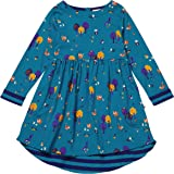 0d24aa945560 Piccalilly Organic Cotton Girls Teal Blue Long Sleeved Woodland Print  Jersey Dress