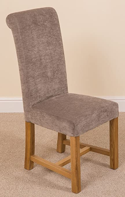 Washington Braced Scroll Back Grey Fabric Dining Room Kitchen Chairs