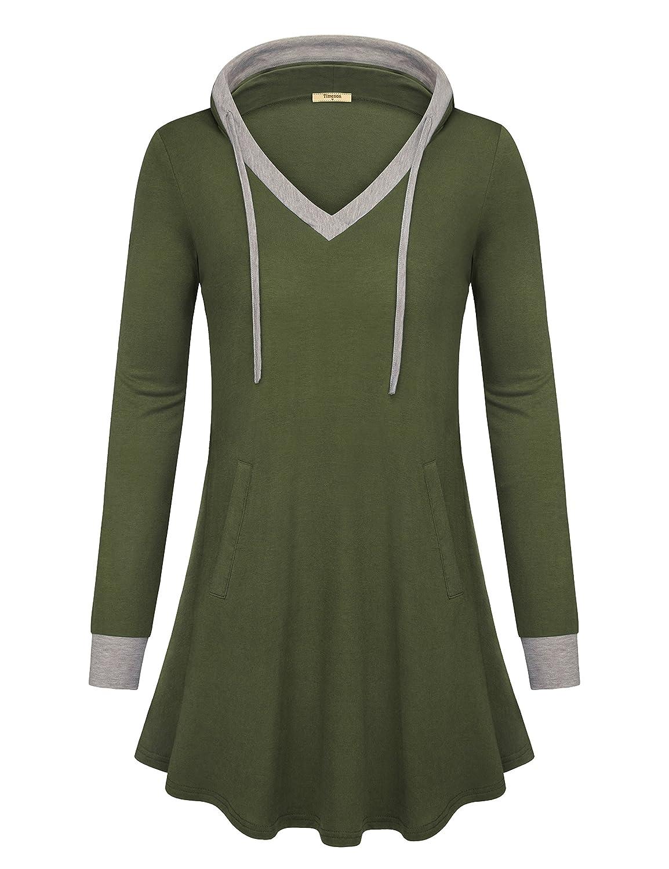 Timeson Women Long Sleeve Shirt V Neck Pullover Kangaroo Pocket Thin Sweatshirt Hoodie