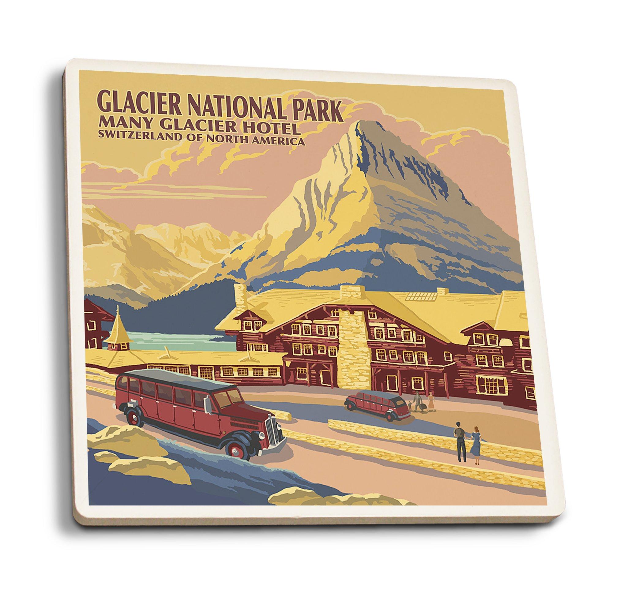 Lantern Press Glacier National Park, Montana - Many Glacier Hotel (Set of 4 Ceramic Coasters - Cork-Backed, Absorbent)
