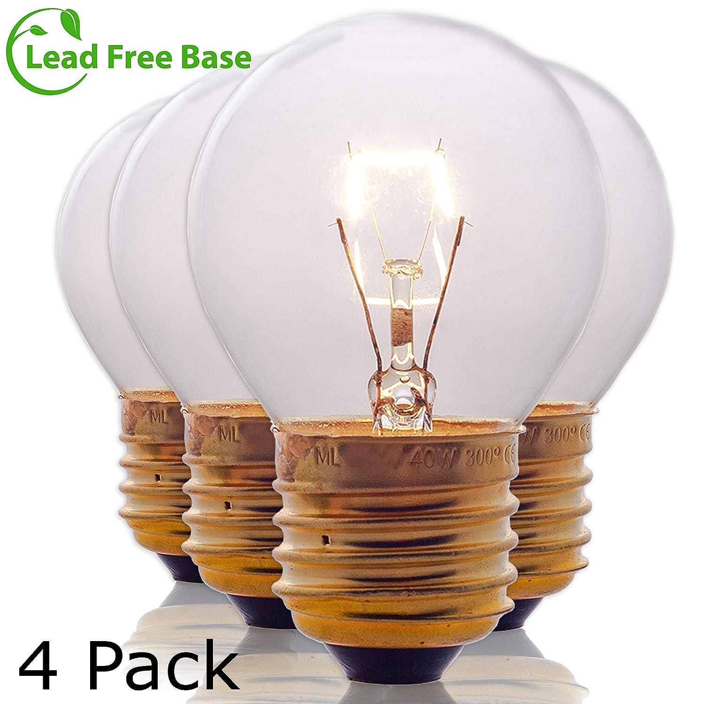 Oven Light Bulbs – 40 Watt Appliance Replacement Bulbs for Oven, Stove, Refrigerator, Microwave. Incandescent -High Temp G45 E26/E27 Socket. Medium Brass Lead-Free Base - 400 Lumens - Clear. 4 Pack