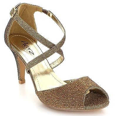 177b83e0d8cd37 Femmes Dames Brillant Cristal Diamante Soir Mariage Fête De mariée Bal de  Talon Haut des Sandales Chaussures Taille: Amazon.fr: Chaussures et Sacs