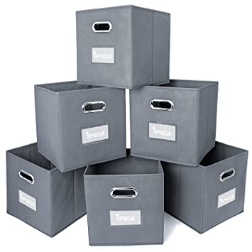 iSPECLE Cloth Storage Bins with Label Holders, 6 Pack Collapsible Fabric Storage Cubes Bin Foldable