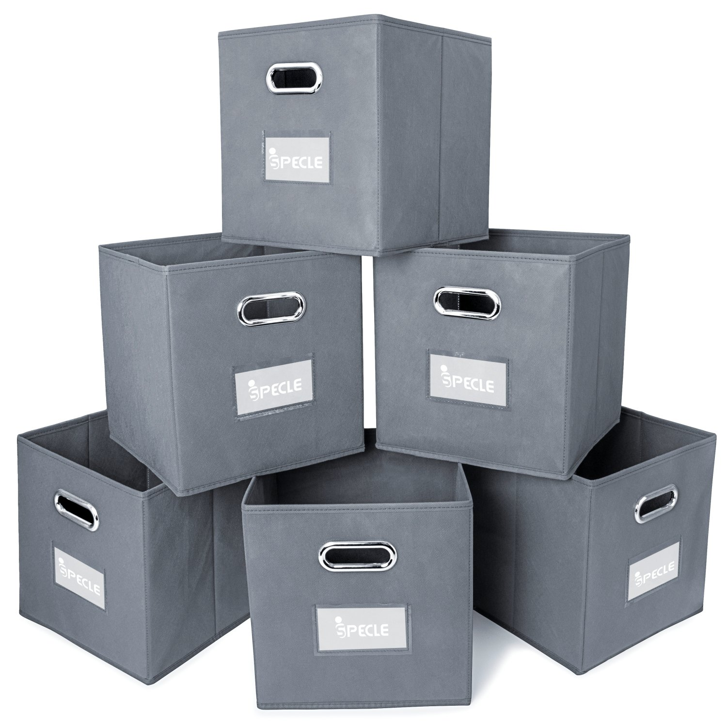 Ispecle Cloth Storage Bins With Label Holders 6 Pack