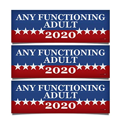 """3 PACK! Any Functioning Adult 2020 Funny Bumper Sticker 3"""" x 9"""" Car Truck Vinyl Decal Political Presidential Election Made In USA: Sports & Outdoors"""