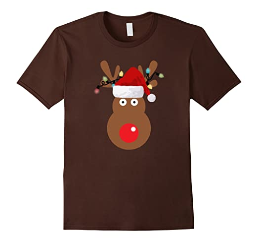 Amazon.com: Rudolph The Red Nose Reindeer Christmas Santa Hat T Shirt: Clothing