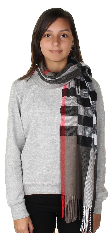 Grey Plaid GILBIN'S Big Winter Warm Tartan Checked Cashmere Feel Shawl Blanket Scarf 80  x 30