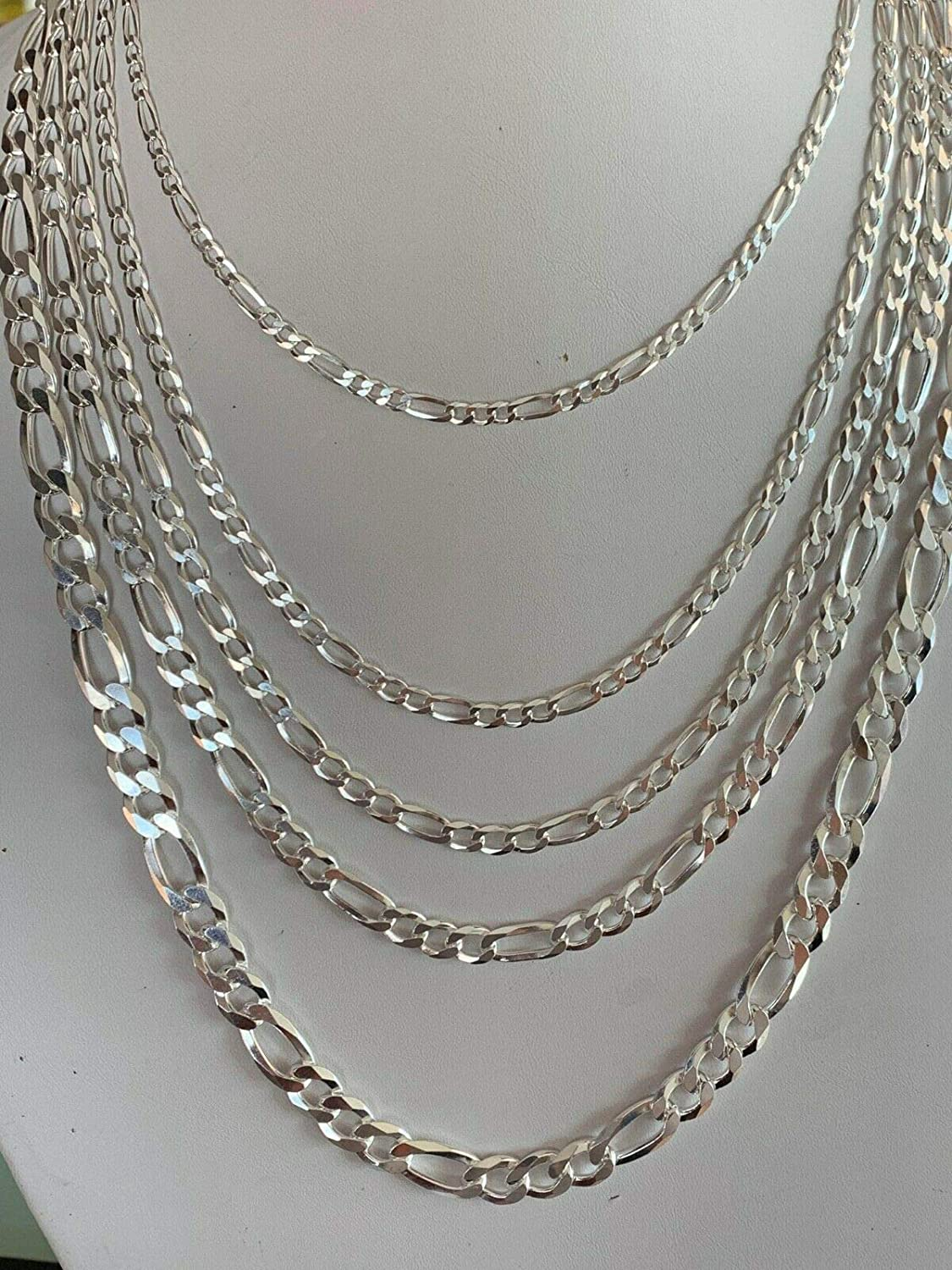 Harlembling Mens Ladies Solid 925 Sterling Silver Figaro Link Chain Great Necklace for Pendants Italy Made 3-10mm 18-30