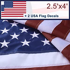 Amersun American Flag 2.5x4 ft,Strong Long Lasting Premium USA Flags with Sewn Stripes,Embroidered Stars and Brass Grommets for Outdoor,Tough Fade Resistant All Weather Oxford Cloth US Flag