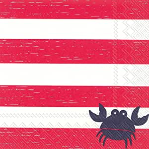 Celebrate the Home Nautical 3-Ply Paper Cocktail Napkins, Crab Stripe, 20 Count