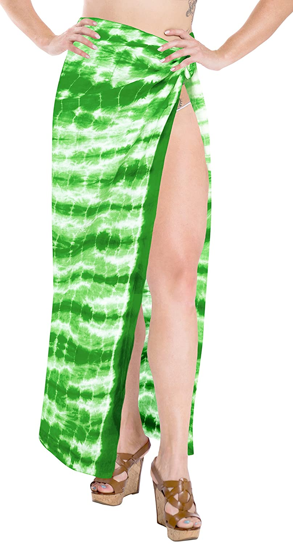 LA LEELA Women's Large Size Beach Holiday Sarong Wrap Skirt Bathing Towel Swimsuit Swimwear Maxi Dress Lightweight Pareo Scarf Cotton TD137 Tie_Dye *LA LEELA 130835