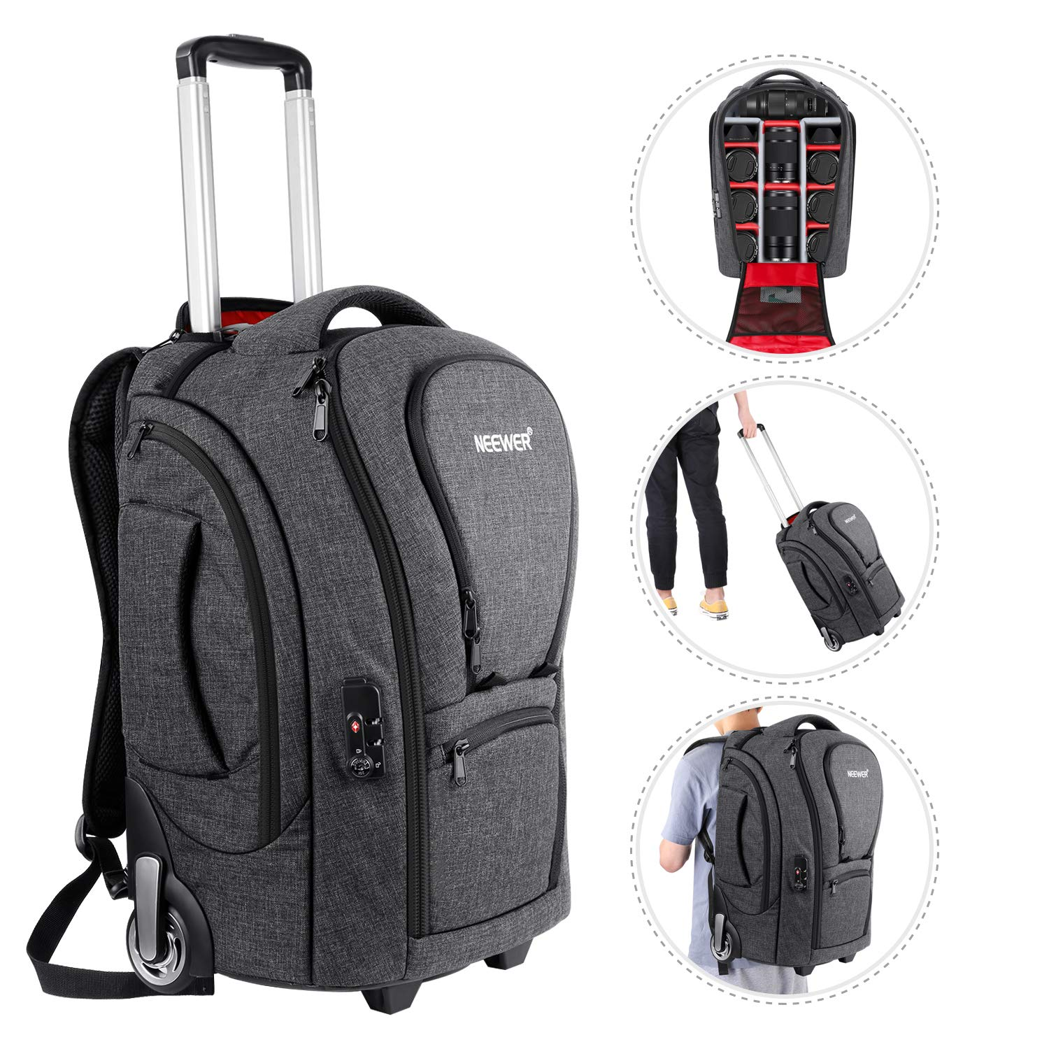 0595d39273c3 Neewer 2-in-1 Camera Rolling Backpack Trolley Case with TSA Lock, Anti
