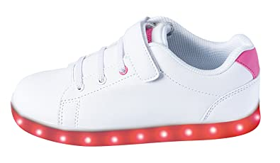 M/ädchen LED Sneaker Blinkschuhe Leuchtschuhe Farbwechsel 7 Farben USB Kabel Klettverschluss Gr.31 33 PINK STAR