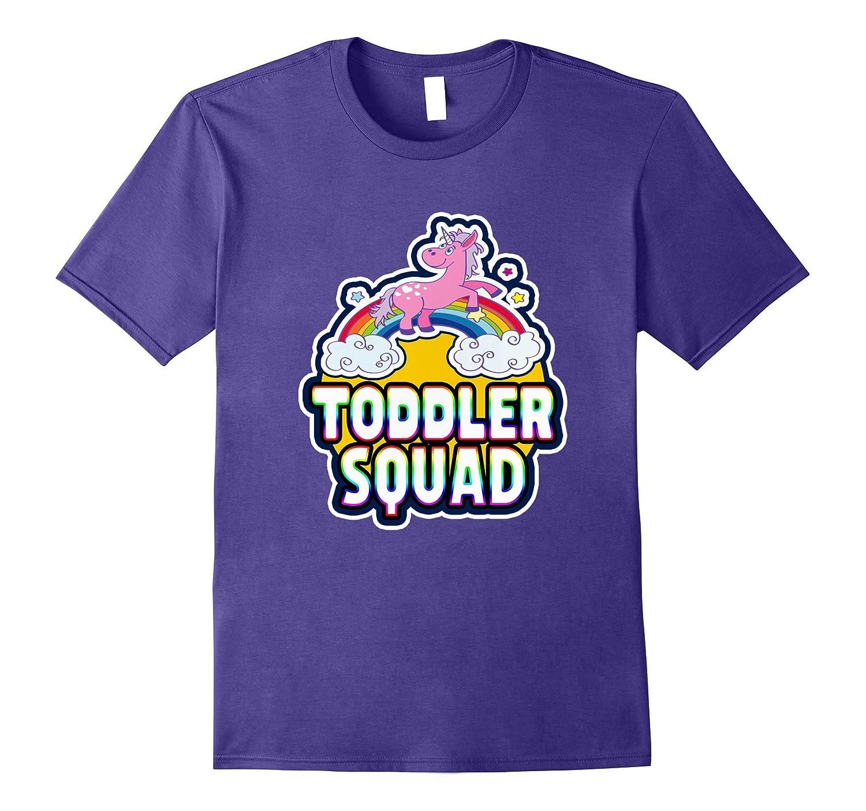 Toddler Squad Cute Rainbow Unicorn Kids Party T-Shirt-CD