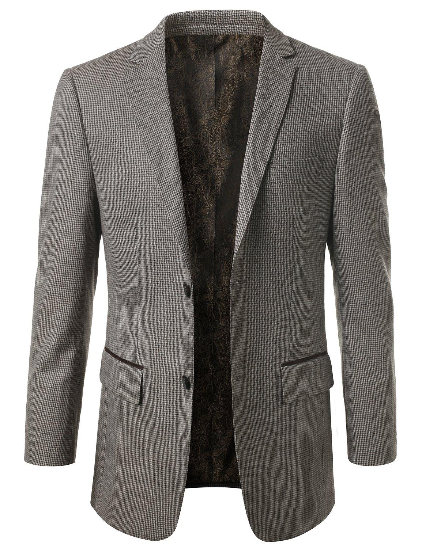 MONDAYSUIT Men's Modern Fit PLAID 100% Wool Sport Coat Blazer Jacket - BROWN