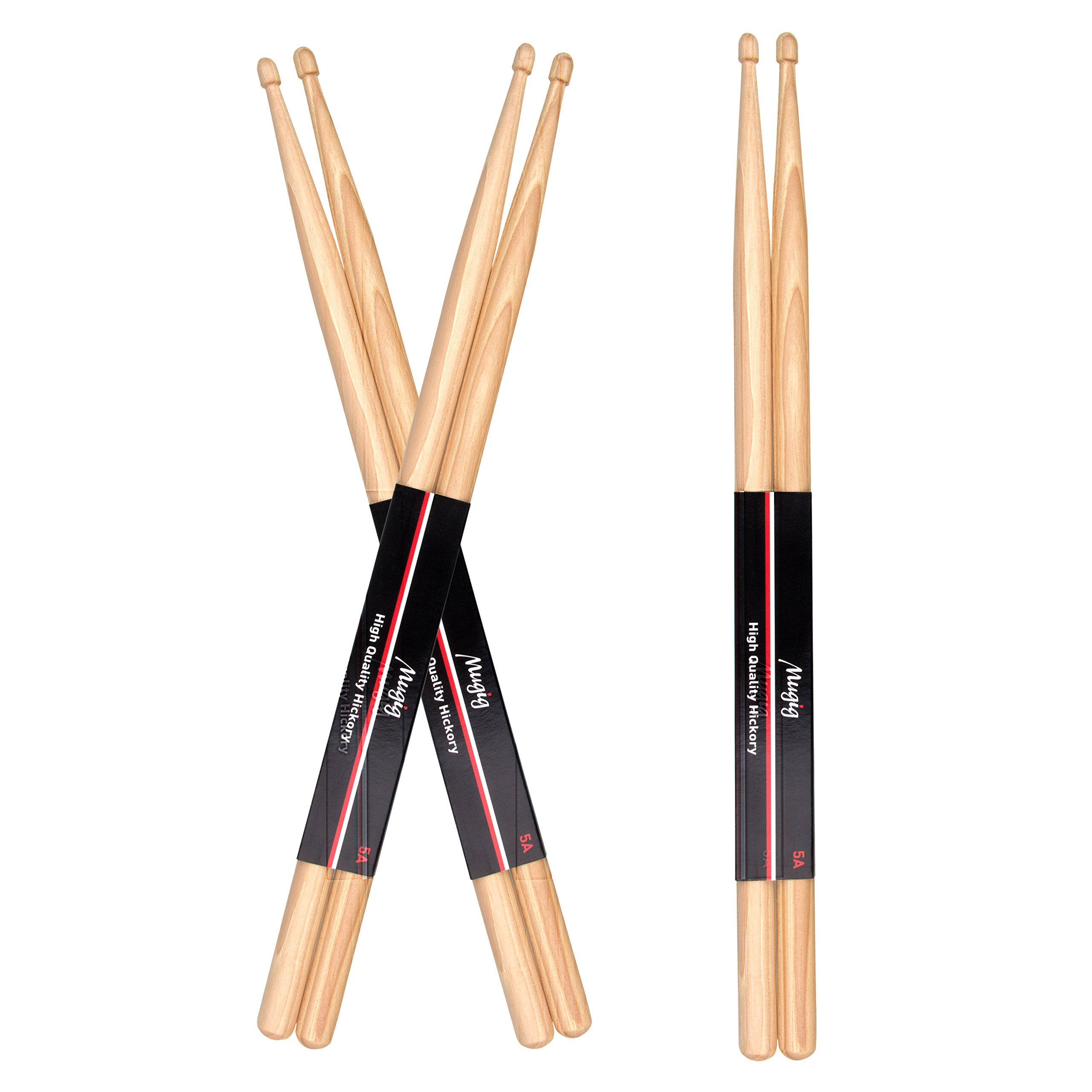 Mugig Drum Sticks Hickory Rock Sticks for Jazz Pop Rock Music (3 Pairs)