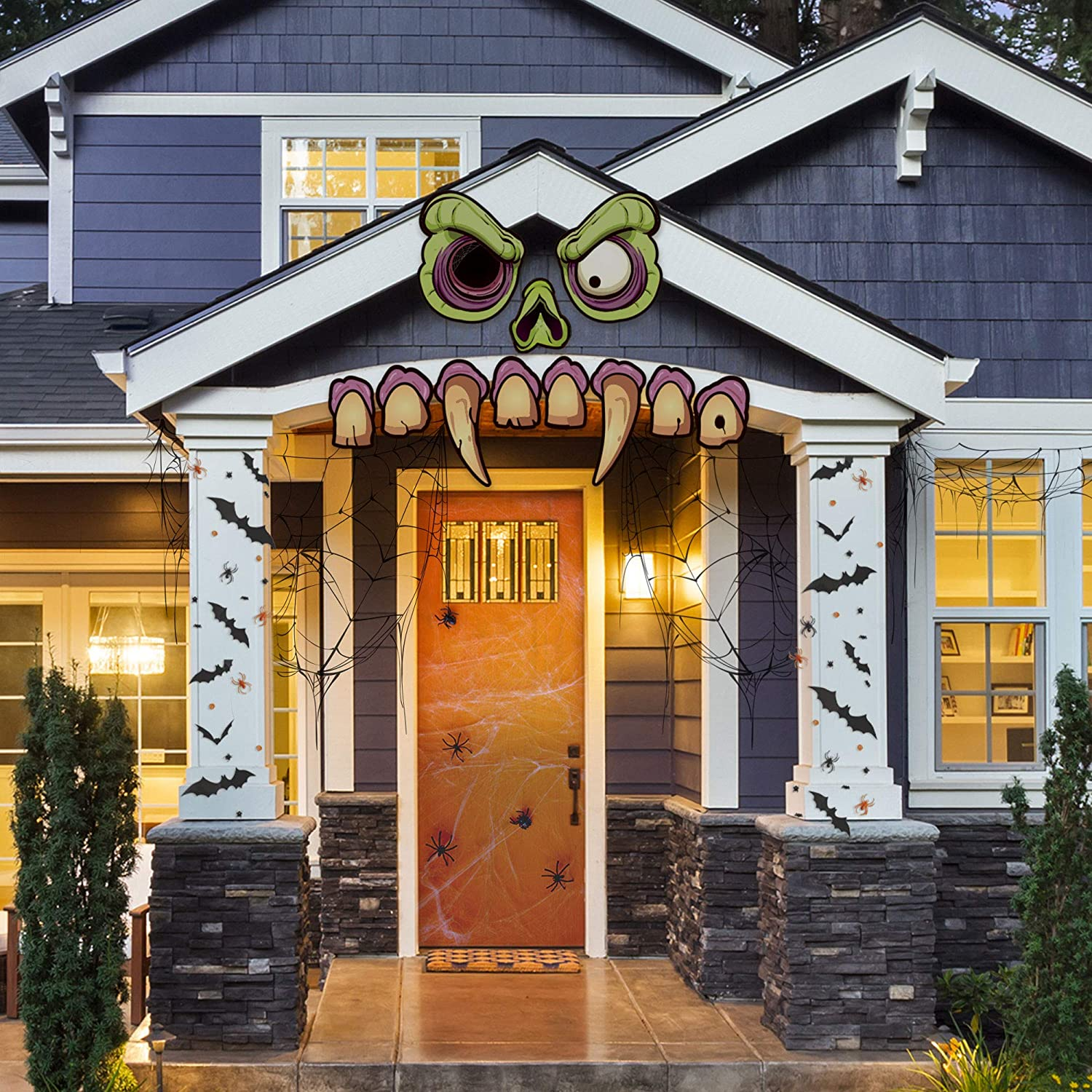 Large Hanging Outdoor Halloween Decorations.Mad Monster Face Outdoor Halloween Haunted House Party Decoration Large Scary Zombie Home Decor Garage Door Car Funny Creative Decoration 11 Easy Hang Pieces 8 5 21 5 Amazon In Garden Outdoors