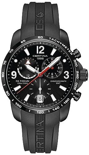 Certina - Reloj de cuarzo para hombre, correa de goma color negro: Amazon.es: Relojes