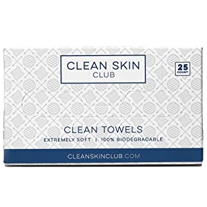 Clean Skin Club - Clean Towels | Worlds 1ST Biodegradable Face Towel | Disposable Makeup Removing Wipes | 100% Organic Viscose | 25CT | Super Soft For Sensitive Skin | Dry Cleanser Towelettes