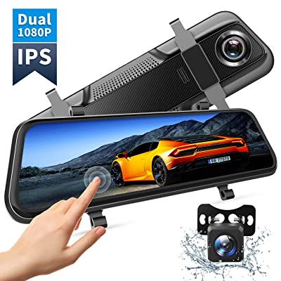 """VanTop H609 Dual 1080P Mirror Dash Cam with 10"""" IPS Full Touch Screen w/Waterproof Backup Rear View Camera, Night Vision, Parking Monitor, Loop Recording (128G Memory Card Supported)…: Car Electronics"""