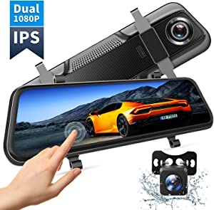 "VanTop H609 Dual 1080P Mirror Dash Cam with 10"" IPS Full Touch Screen, Waterproof Backup Rear View Camera, Night Vision, Parking Monitor, Loop Recording (128G Memory Card Supported)…"