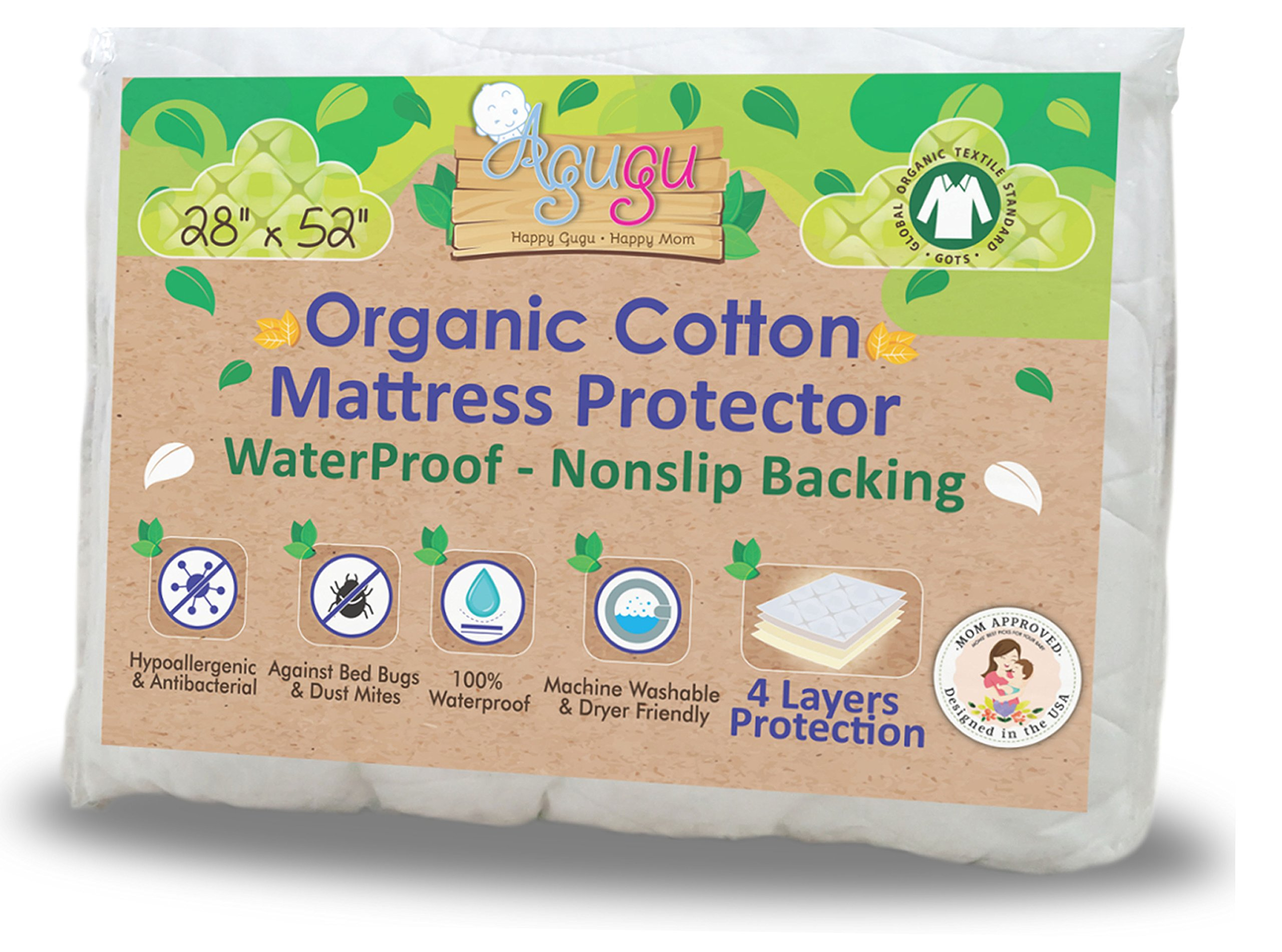 Agugu Certified Organic Cotton Crib Mattress Protector - Absolute No Liquid Penetration Baby Bed Cover | Ultra Soft on Toddler & Baby Skin | Non-Toxic, Fast Cleanup, No-Slip Backing - 28''x52''x8''