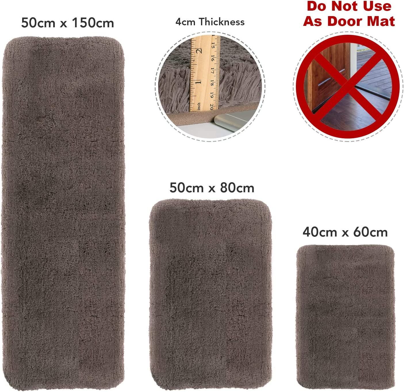 rutschfeste Badezimmer-Fu/ßmatte Lifewit Badematte Lange weiche zottelige wasserabsorbierender Braun Mikrofaserteppich 150 /× 50 /× 4 cm