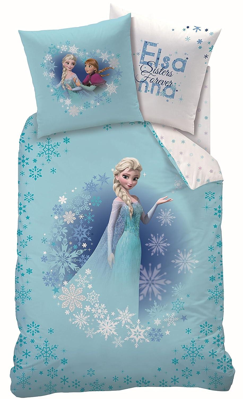CTI Sunset Disney La Reine des neiges Parure de lit en flanelle comprenant 1 housse de couette de 135 x 200 cm et 1 taie doreiller de 80 x 80 cm