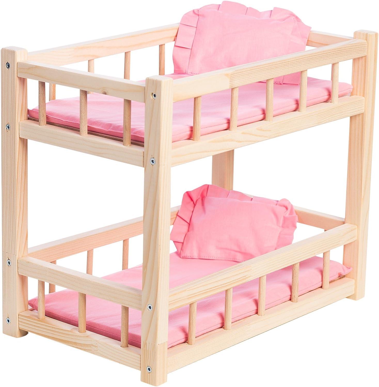 WOODTASTIC Litera de Madera para Muñecas Bebé de hasta 36 cm, con Juego de Cama de Lino Color Rosa