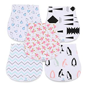 JCube&P Baby Burp Cloths - 100% Organic Cotton Burp Clothes with Fleece - Soft & Absorbent Curvy Burp Rags - Cute 5-Pack Baby Shower Gift Set Burp Towels- Newborns & Infants Burping Cloths (Peace)