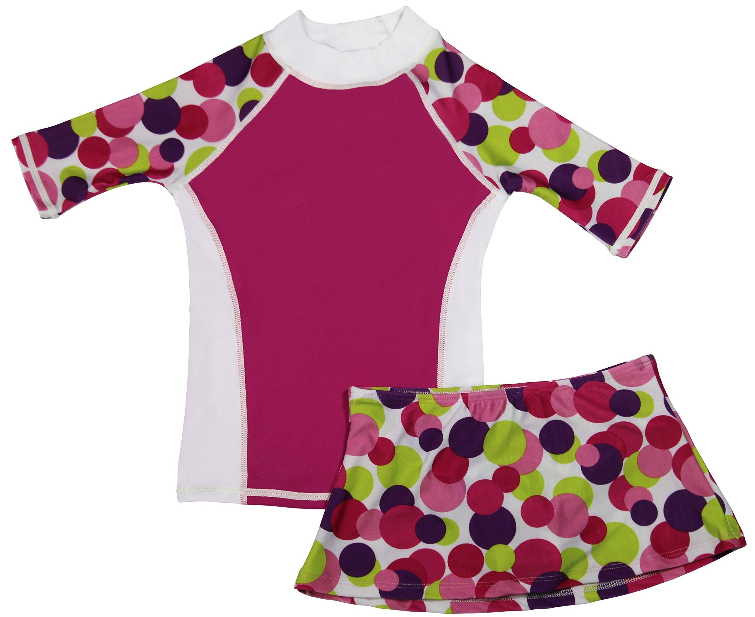 grUVywear Girls Short Sleeve UPF 50+ Rash Guard and Bikini Skirt Swimsuit Set - A Dot to Love | 7-8 by grUVywear