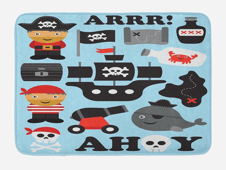 Kids Bath Mat, Ahoy Pirate Theme with Non Slip Backing