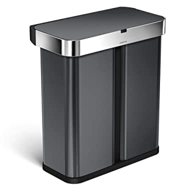 simplehuman 58 Liter / 15.3 Gallon Stainless Steel Touch-Free Dual Compartment Rectangular Kitchen Trash Can Recycler with Voice and Motion Sensor, Activated, Black